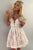 White Lace Low V-neck Pleat Homecoming Dress with Beading Sash OHM191