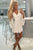 A-line Ivory Lace Short Party Dress Homecoming Dress with Bell Sleeves OHM213