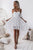 White Cold Shoulder White Pleated Hollow Out Lace High Low Party Dress Homecoming Dress OHM215