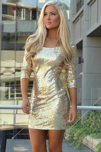Stunning Sheath Scoop Sequined Tight Short Party Dress Homecoming Dress OHM216