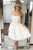 Ivory Strapless A-line Lace Tulle Short Party Dress Chic Homecoming Dresses OHM217