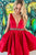 A-line Deep V-neck Satin Burgundy Pleated Homecoming Dress with Beading Sash OHM218