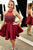 High Neck Beading Burgundy Satin Pleats Homecoming Dress OHM220