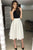 A-Line Halter Backless Tea-Length White Short Prom Dress Homecoming Dress with Pleats OHC564
