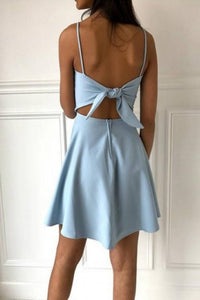 A-Line Spaghetti Straps Homecoming Dress with Bowknot Back OHM053 | Cathyprom
