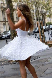 Chic White Spaghetti Straps Homecoming Party Dress with Appliques OHM055 | Cathyprom