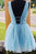 Sweet V-Neck Open Back Homecoming Party Dress with Beading OHM048 | Cathyprom