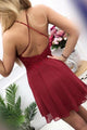Modest Scoop Sleeveless Burgundy Chiffon Homecoming Dress with Appliques OHM041 | Cathyprom