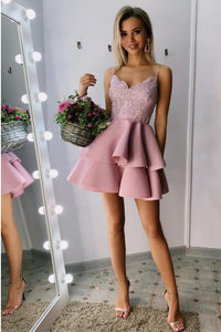 Chic Spaghetti Straps Tiered Pink Short Prom Homecoming Dress with Appliques Beading OHM044 | Cathyprom