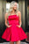 Simple Strapless Red Sleeveless Short Prom Homecoming Dress with Pockets OHC042 | Cathyprom