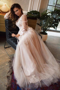 Charming A Line Tulle Sweep Train Long Sleeves Backless Prom Dress with Appliques OHC172 | Cathyprom