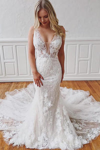 Gorgeous Mermaid Sleeveless Detachable Train White Wedding Dresses with Appliques OHD102 | Cathyprom