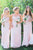 A Line Long Sweetheart Chiffon Blush Rose Appliques Bridesmaid Dress OHS146