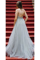 Sexy A-line Spaghetti Strap Sweep Train Sleeveless Beading Backless Tulle Long Prom Dresses Evening Dresses OHC205 | Cathyprom