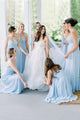 Simple A Line Halter Floor Length Long Chiffon Blue Bridesmaid Dress with Ruched OHS150
