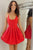 Sexy Spaghetti Straps Backless Short Red Pleated Homecoming Dress OHM070 | Cathyprom