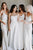 Formal Satin A-Line Square Neck Long White Sleeveless Wedding Dress Simple Bridal Gown OHD237