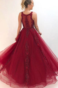 Beautiful A Line Round Neck Burgundy Appliques Prom Dresses OHC155 | Cathyprom