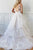Charming A Line V Neck Sleeveless White Organza Wedding Dresses with Ruffles Appliques OHD109 | Cathyprom
