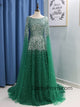 Stunning Beading A Line Long Prom Dresses Sweetheart Arabic Prom/Evening Dress with Sleeves HSC2210
