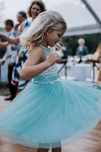 A Line Sleeveless Tulle Lace Knee Length Short Flower Girl Dresses OHR041 | Cathyprom