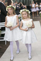 Sweet Bateau Sleeveless White Satin Knee Length Short Flower Girl Dresses OHR036 | Cathyprom