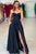 Simple Prom Dress Black Sweetheart Side Slit A-Line Satin Prom Dresses Evening Dresses OHC597