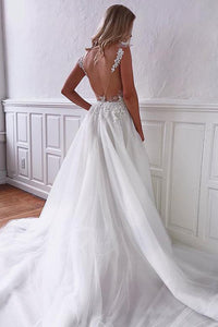 Charming A Line V Neck White Sleeveless Open Back Wedding Dresses Appliques OHD101 | Cathyprom