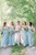 A-Line Off-the-Shoulder Simple Long Light Blue Chiffon Bridesmaid Dress with Ruched OHS140