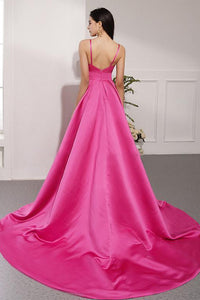 Simple A Line Spaghetti Straps Sweep Train Long Fuchsia Prom Dresses Evening Dresses OHC361 | Cathyprom