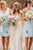 A-Line V-Neck Knee-Length Light Blue Bridesmaid Dress with Lace Pleats OHS015 | Cathyprom