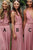 A-Line V-Neck Criss-Cross Straps Sweep Train Elastic Satin Bridesmaid Dress Pleats OHS042 | Cathyprom