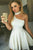 One-Shoulder White Satin Short Homecoming Cocktail Dress OHM008 | Cathyprom