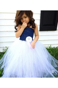 A-Line Strapless Sleeveless Floor Length Pearl Tulle Flower Girl Dress OHR043 | Cathyprom