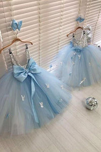 Sleeveless Sequin Backless Tulle Butterfly Applique Flower Girl Dresses OHR032 | Cathyprom