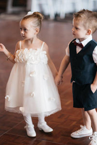Sleeveless Tulle Handmade Flowers Applique Spaghetti Strap Flower Girl Dresses OHR033 | Cathyprom