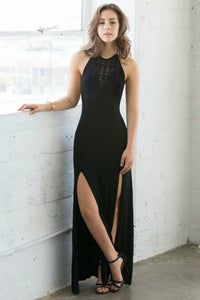 A-Line Halter Backless Black Chiffon Prom Dress with Split OHC069 | Cathyprom
