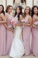 Sheath One-Shoulder Backless Chiffon Bridesmaid Dress with Ruched OHS037 | Cathyprom