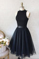 High Neck Sleeveless Knee-Length Black Homecoming Dresses OHM064 | Cathyprom