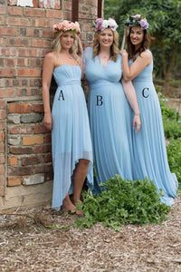 A-Line Strapless Hi-Low Chiffon Bridesmaid Dress with Pleats OHS064 | Cathyprom