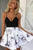 A-line V-neck Ruched Satin Short Homecoming Dress with Floral Print OHM045 | Cathyprom