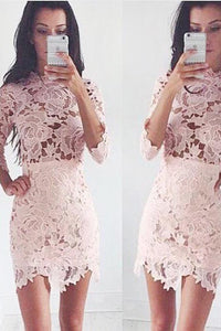 3/4 Sleeves Pink Sheath Lace Scalloped Homecoming Dress OHM075 | Cathyprom