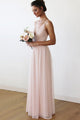 A-Line V-Neck Criss-Cross Straps Pink Chiffon Long Bridesmaid Dress with Pleats OHS060 | Cathyprom
