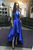 A-Line Round Neck High Neck High Low Royal Blue Satin Prom Dress PD18