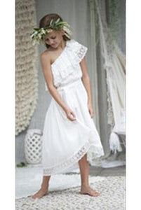 Cheap Floor Length One Shoulder Chiffon Sleeveless Flower Girl Dress OHR044 | Cathyprom
