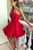 Strapless Red Short Homecoming Party Dresses with Ruffles OHM089 | Cathyprom