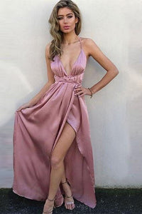 A-Line V-Neck Criss-Cross Straps Floor-Length Rose Pink Prom Dress L56 | Cathyprom