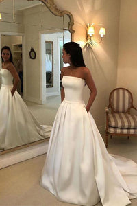 Elegant A Line Strapless Sleeveless White Wedding Dresses with Pockets Bowknot OHD105 | Cathyprom