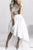 Two-Piece Crew Cap Sleeves Hi-Lo White Chiffon Prom/Homecoming Dress with Lace P36