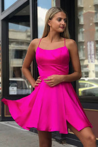 Spaghetti Straps Fuchsia Above Knee Split Homecoming Dress OHM043 | Cathyprom